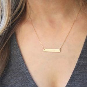 Gold Horizontal Bar Necklace